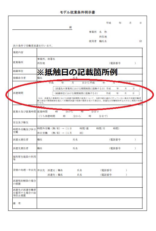 就業条件明示書の抵触日記載箇所例