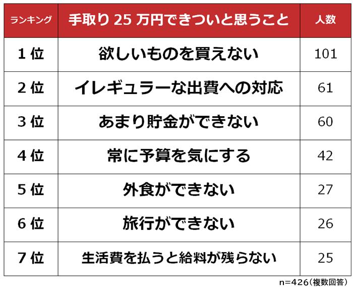 手取り25万円できついと思うことランキング (1)